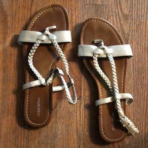 Gold metallic braided sandals
